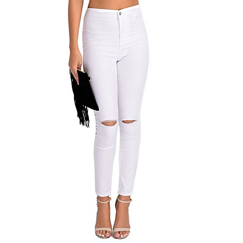 New Womens 2 Pocket Tube Ripped Knee High Waisted Stretchy Skinny Jean Denim Plus Size White Rip Knee