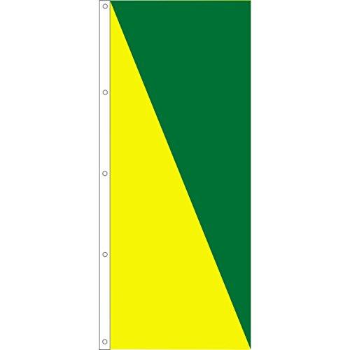 Vertical Diagonal 2 Color Flag, Yellow/Green, 3' x 8'