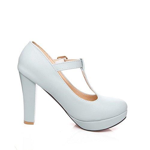 Balamasa Dames Bezaaid Strass Metalen Gespen T Riem Geïmiteerd Lederen Pumps-schoenen Lichtblauw
