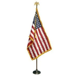 3x5 FT Valley Forge Deluxe Indoor US American Flag Parade Set 7 FT Pole