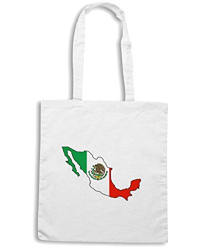 T-Shirtshock - Bolsa para la compra TM0211 Mexico Bandera flag Blanco