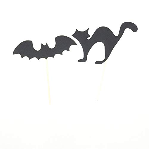 Halloween Cat And Bat Ornament Halloween Gift Black Felt Cat And Bat Halloween Cupcake Toppers -
