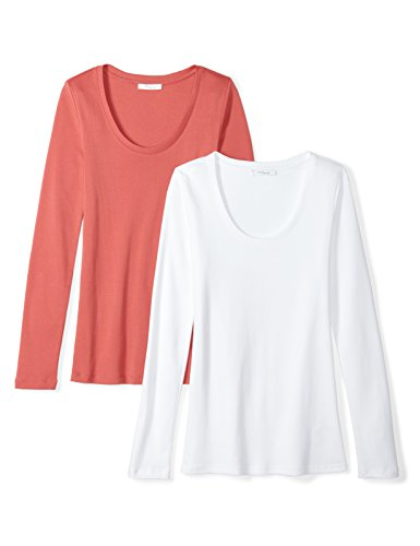 (Daily Ritual Women's Midweight 100% Supima Cotton Rib Knit Long-Sleeve Scoop Neck T-Shirt, 2-Pack, S, White/Cardinal Red)