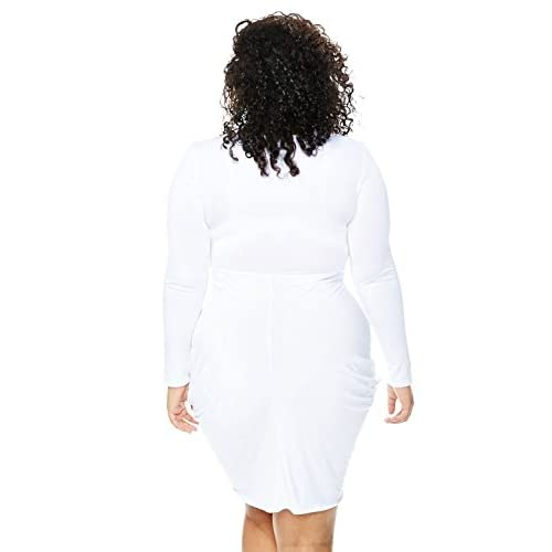 a3211ad65bc on sale POSESHE Womens Plus Size Deep V Neck Bodycon Wrap Dress with Front  Slit