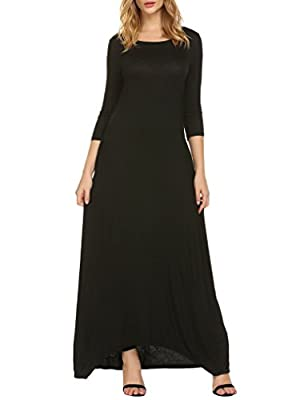 Naggoo Women's Casual Loose Plain 3 4 Sleeve Long Maxi Dresses With Pockets