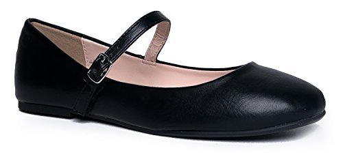Mary Jane Ballet Flat - Quilted Comfort Casual Shoe - Easy Everyday Velcro Slip On - Lottie by J Adams,Black Vintage Pu,6 B(M) US