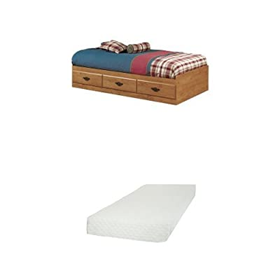 South Shore Prairie Twin Mates Bed (39'') with 3 Drawers, Country Pine, and Somea Twin Mattress included