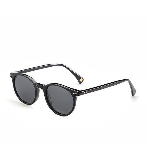 Unisex polarizadas en Smoke de clásica Sunglasses Gafas C01 G15 gafas acetato sol Guía TL C03 Anteojos hombres Black redonda Demi xwqpX00Y