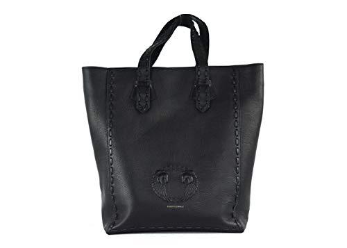 Roberto Cavalli Women's Black Leather Horse Wing Logo Shoulder/Tote Bag~RTL$2150