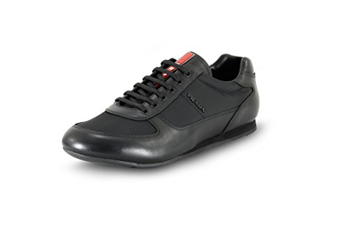 Prada Men's Calfskin Leather With Nylon Trainer Sneaker, Black (Nero) 4E2777 (11 US UK - Men Uk Prada