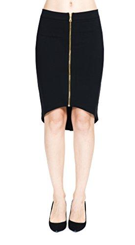 Women's Rayon Span Layer High Low Asymmetrical Gold Metal Zip-up Skirt