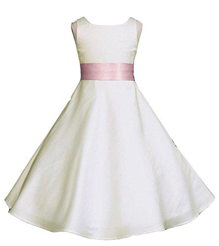 (Wedding Pageant Ivory A-Line Matte Satin Jr. Bridesmaid Flower Girl)