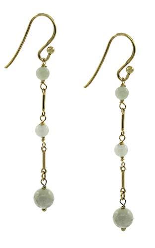 14k Gold Filled Linear Jade Triple Bar-Drop Fishhook Earrings
