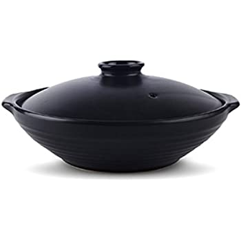 Black 1.5 Quarts Ceramic Stew Soup Hot Pot with Lid, Japanes Donabe Hot Pot, Stockpot Cookware for Multipurpose Use