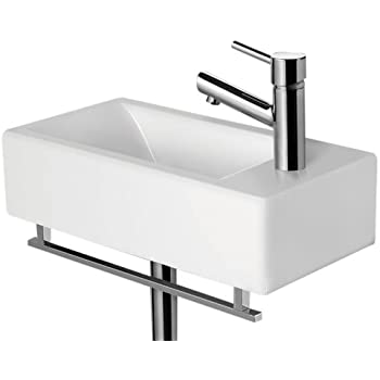 ALFI Brand AB108 Small Modern Rectangular Wall Mounted Bathroom Sink   White