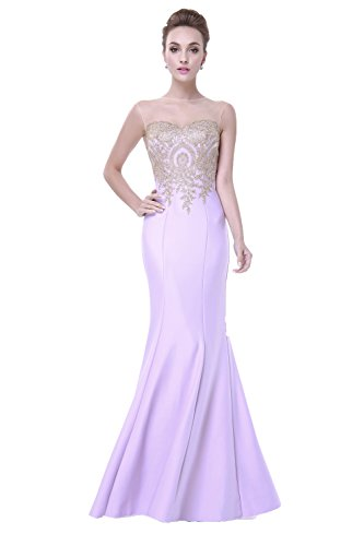 Gowns Evening Abendkleider Lang Damen Lavender Meerjungfrau Embroidery Fanciest Formelle Ballkleid qBx8vvw