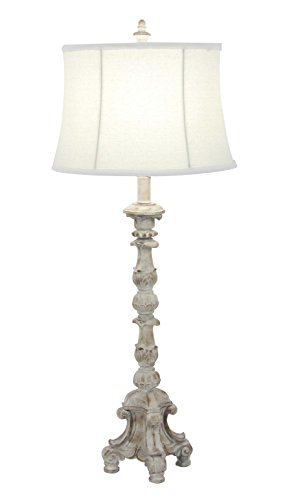 Deco 79 58666 Table Lamp, White (Baluster Table)