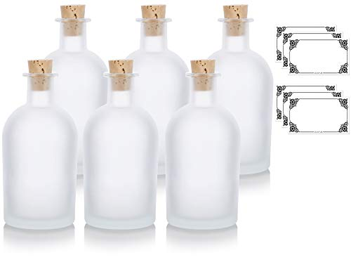 JUVITUS Frosted Clear Glass Decorative Reed Diffuser Bottle with Cork Stopper - 8 oz / 250 ml (6 Pack) + Labels for Home Decor, Aromatherapy, Oils, Events, Holidays, Cosplay, Gifts, DIY Projects]()