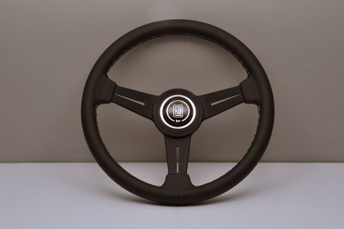 Nardi Steering Wheel - Classic - 330mm (12.99 inches) - Black Leather with Grey Stitching and Black Anodized Spokes - Black Aluminum Ring - Part # 6061.33.2001