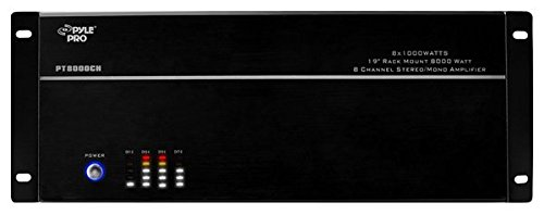Pyle 8-Channel Home Theater Amplifier Rack Mount Amp, Black, 8000 Watt (PT8000CH) ()