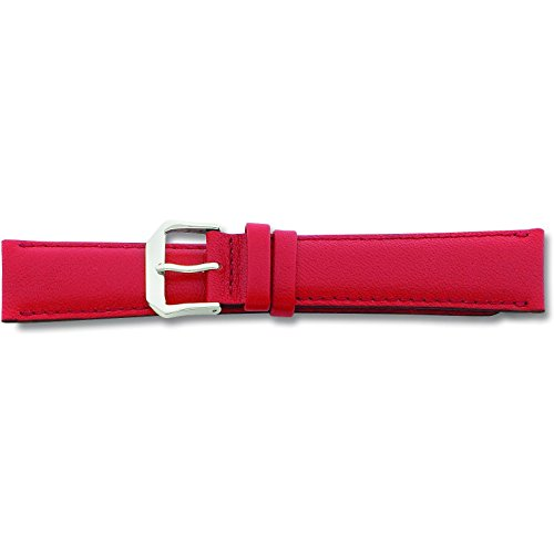 De Beer Red Leather Watch Band 14mm Silver Color