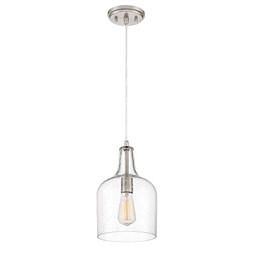 (Quoizel QPP3402BN Piccolo Glass Mini Pendant Ceiling Lighting, 1-Light, 100 Watt, Brushed Nickel (13