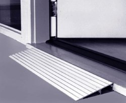 Threshold Ramp 1'' High Aluminum, For Wheelchairs And Scooters. 1'' High x 6-1/2'' Long x 34'' Wide, This Ramp Is Designed For Doorways, Sliding Glass Doors And Raised Landings.