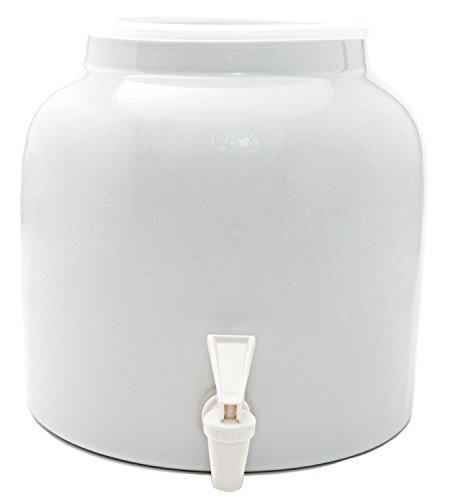 Goldwell Designs Solid Color Water Dispenser Crock in White (Crock Water Gallon 5)