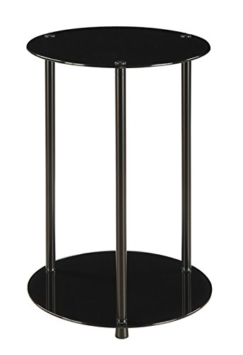 Convenience Concepts Designs2Go 2-Tier Round End Table, Black Glass