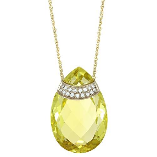 Lavari - 26x17 Pear Shaped Lemon Quartz and .12 Cttw Diamond 14K Yellow Gold Pendant