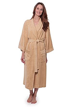 Luxury Bathrobe for Women - Women's Terry Cloth Robe - Comfy Ladies Bamboo Robe (Almond Buff, Small/Medium)