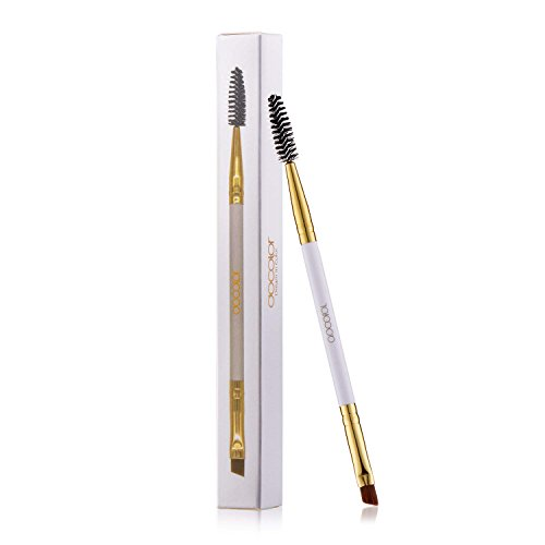 Best Docolor Duo Eyebrow Brush, Professional Tool, Angled Eye Brow Brush and Spoolie Brush White