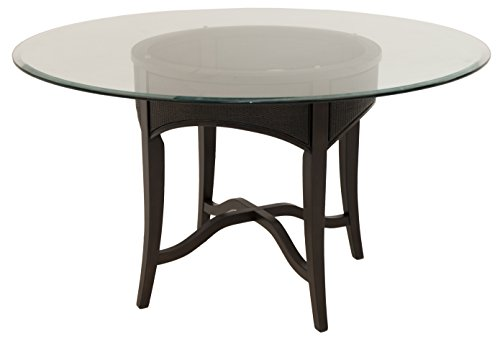 "Impacterra Miyang Dining Table, Latigo Brown/Clear Glass 54"" Round"