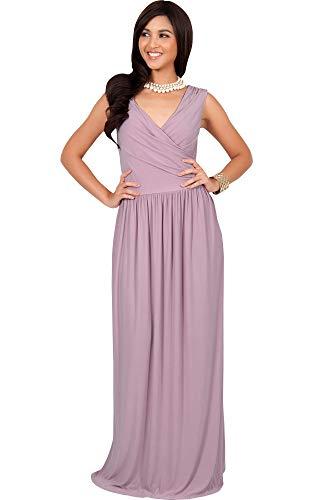 KOH KOH Petite Womens Long Sleeveless Sexy Summer Semi Formal Bridesmaid Wedding Guest Evening Sundress Sundresses Flowy Gown Gowns Maxi Dress Dresses, Dusty Pink XS 2-4