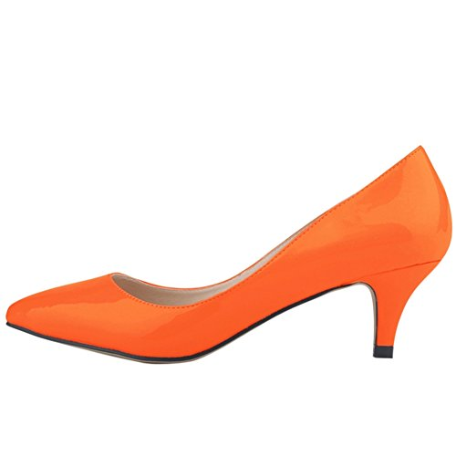Women's Candy Color Pointed Toe Mid Heel PU Pump Shoes Orange Red Q4TO965JRB