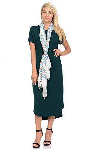 iconic luxe Women's A-Line Short Sleeve Midi Dress Large Hunter-Green