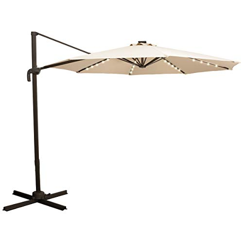 TAGI 10 feet Square Outdoor Umbrella with 40 Solar LED Lights, Cantilever Pole with Crank Lift, 8 Iron Ribs, rotatable, Beige