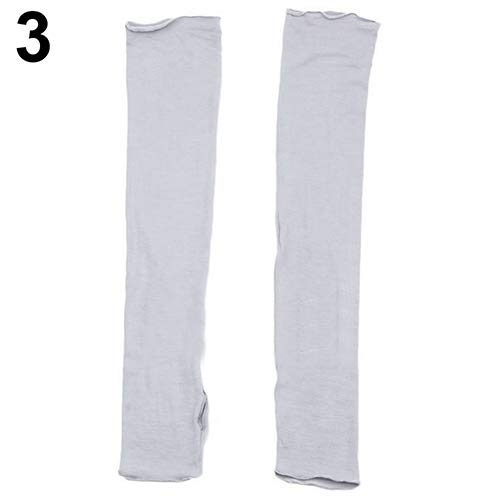 Softmusic Women Long Fingerless UV Sun Protection Driving Cover Arm Sleeves Mittens Skin Care - Grey