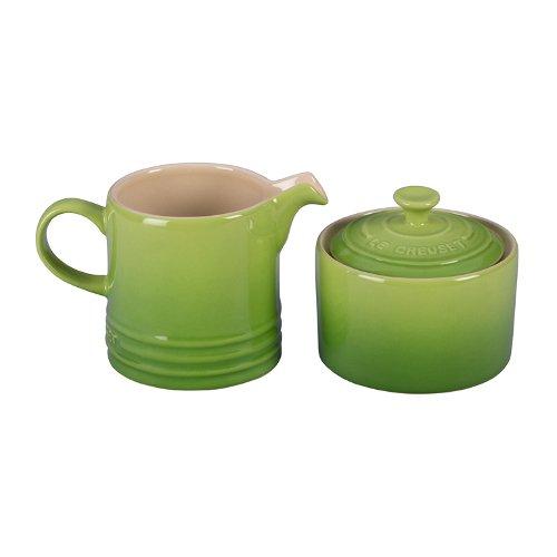 Cream and Sugar Set, Palm (Green Sugar Bowl Lid)