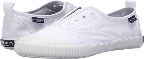 Sperry Womens Sayel Clew Washed Canvas Sneaker, White, 8 (Womens Sperry Top Sider Bahama Boat Shoe Navy)