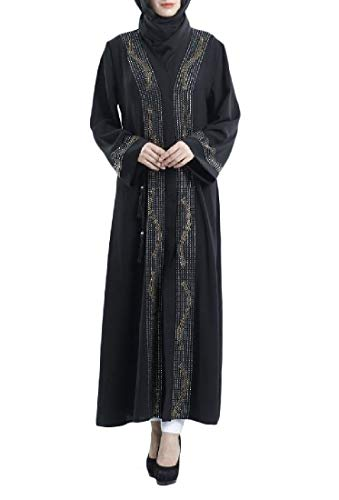 Abetteric Women's Cardigan Muslim Dubai Glitter Stone Abaya Evening Dress Black 2XL