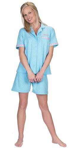 Blue Polka Dot Brushed Cotton Jersey Short Set Pajamas for Women