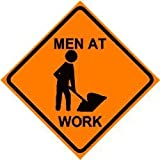 MEN WORKING CAUTION road construction sign