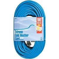 Woods 2439 12/3 Outdoor Cold-Flexible SJTW Extension Cord with Lighted End, 100-Foot, Blue by Woods