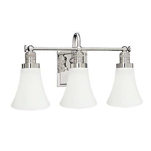 Langdon Mills 10220 Brompton 3-Light Bathroom Vanity Light, Polished Nickel