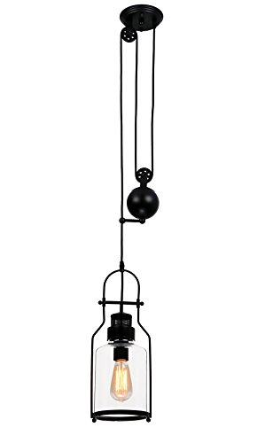 Blown Glass Vessels - SUNWE Watson Retro Industrial Loft Lantern 1-Light Pulley Pendant Light Adjustable Wire Retractable Lamps with Clear Glass (Matte Black)