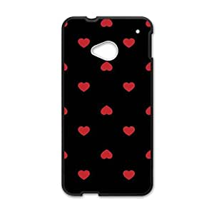 cute red lovely heart with black background personalized creative custom protective phone case for HTC M7