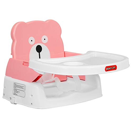 HONEYJOY Baby Booster Seat, 2 in 1 Portable Booster Feeding Seat W/Safety Belt, Removable Tray, Cup Holder for Toddlers (Pink) ()