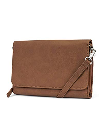 Mundi RFID Crossbody Bag For Women Anti Theft Travel Purse Handbag Wallet Vegan Leather (Brown Sugar)
