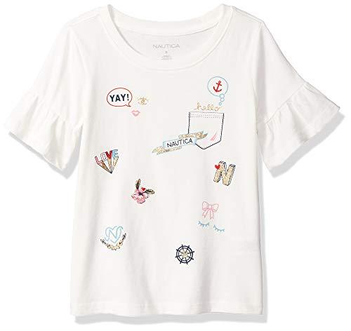 (Nautica Girls' Big Short Sleeve Graphic Tee, Cream icon, Small (7))